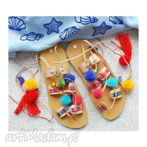 buty rozm 40- kolorowe sandałki w stylu boho, sandały, rzymianki