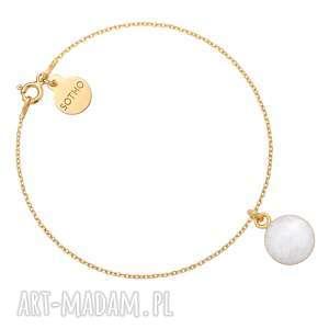 handmade złota bransoletka z białą żywic&#261