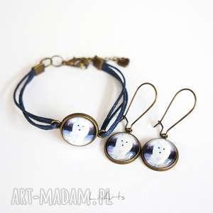 komplet - biały lis sznureczki, kolczyki wiszące, bransoletka, bransoletka
