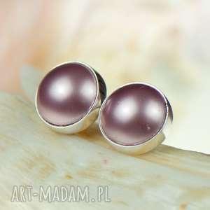Prezent d78 Srebrne Drobinki z perłami Swarovskiego, srebrne-sztyfty