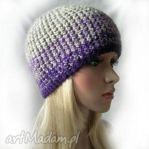 szarości i fiolety - ciepła czapka, kolorowa, wełna, moher