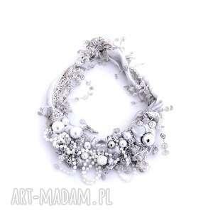 naszyjniki perłowy naszyjnik handmade, naszyjnik, perłowy, ecru, srebrny, bródnyróż