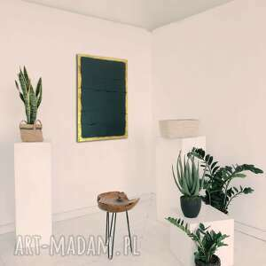 obraz 50x70cm ciemna zieleń złoto, struktura, dekoracja, obraz, panel