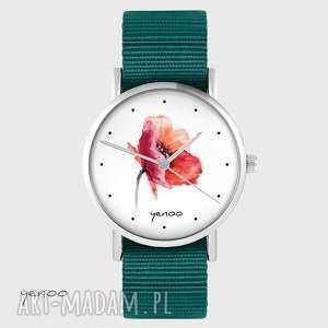 zegarek yenoo - mak morski, nato, zegarek, pasek, mak, kwiat, prezent