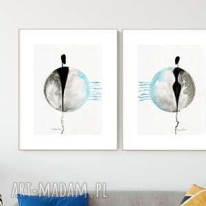 zestaw 2 grafik 30x40 cm wykonanych ręcznie, abstrakcja, minimalizm, obraz do salonu