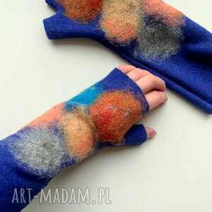 mitenki szafir, mitenki, rękawiczki bez palców, kolorowe ciepłe