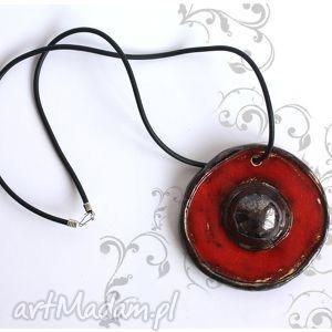 Wisior ceramiczny duży, czerwony., wisior, wisiorek, naszyjnik