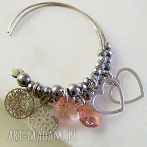 srebro, kolczyki - kryształy swarovskiego w srebrze, kryształy, srebro