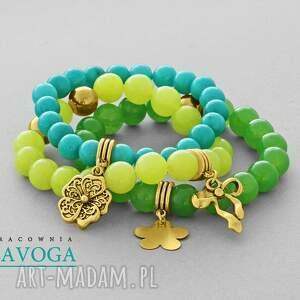 Turquoise, lime & green jade set. - ,jadeit,zestaw,zawieszka,kokardka,kwiatek,