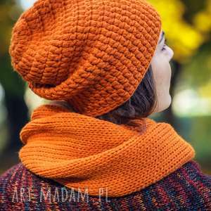 czapka i komin - komplet pomarańczowy, komplet, czapka, komin, wełna, robiona