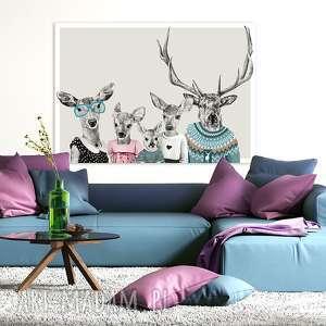 Obraz na płótnie - 120x80cm Rodzina jeleni- dwie córki i syn wysyłka w 24h 02264