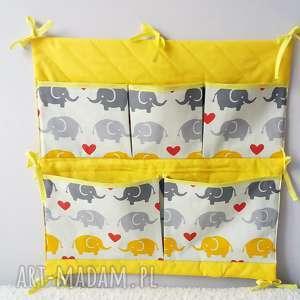 pokoik dziecka organizer do łóżeczka- żółto szare słoniki, organizer, łóżeczko
