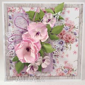 w odcieniach różu i fioletu, kartka, życzenia, scrapbooking