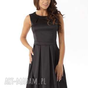 Sukienka kontrafałda czarna ED02-4, elegancka-sukienka, polski-producent
