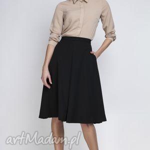Spódnica, SP110 czarny, elegancka, rozkloszowana, kontrafałda, kobieca, matura,