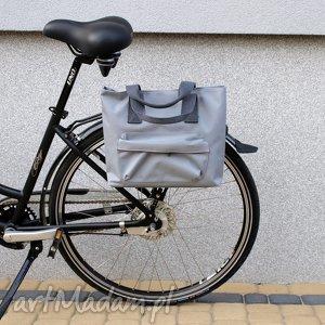 torba rowerowa romania jasno szara, rower, torba, praca, zakupy, handmade, prezent