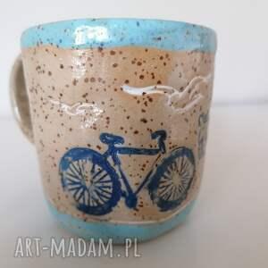 ceramika kubek rowerem nad morze, rękodzieło, z gliny, dekoracja