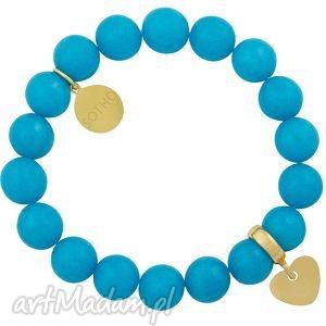 niebieska bransoletka dziecięca górski jadeit błękitny ze złotym sercem, serce