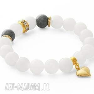 ręczne wykonanie bransoletki moon & gray jade with heart pendant