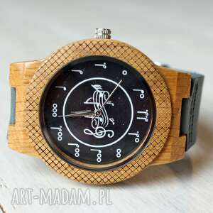 drewniany zegarek music eagle owl, dębowy, muzyka, muzyczny, zegarek, nuty