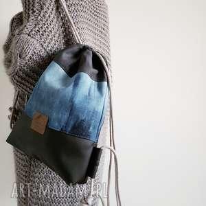 ręcznie wykonane plecak worek denim & ekoskóra