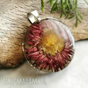 naszyjnik z pięknym naturalnym astrem 1027, żywicy, zamiast kwiatów