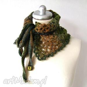 otulacz - ocieplacz ażurowy w jesiennych barwach, szalik, ocieplacz, otulacz, wiązany