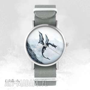 ręczne wykonanie zegarki zegarek, bransoletka - czarny smok szary, nato
