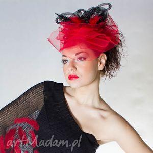 hand-made ozdoby do włosów czerwony fascynator -woalka