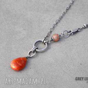 Sunstone naszyjnik, srebro, minerały, kamień, słoneczny