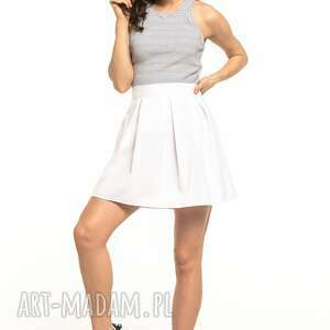 Spódniczka mini z zakładkami, t316, biała spódnice tessita mini