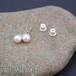 Kolczyki srebro 925 perła rosaline, kolczyki, srebrne, swarovski, perełki, rosaline