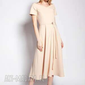 Sukienka trapezowa midi, suk181 beż sukienki lanti urban fashion