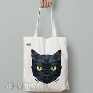 świąteczny prezent, torebki torba bawełniana kot, torba, eko, bawełna, lowpoly
