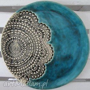 turkusowa z koronką, patera, ceramiczna, turkus, koronkowa, talerz, ceramiczny