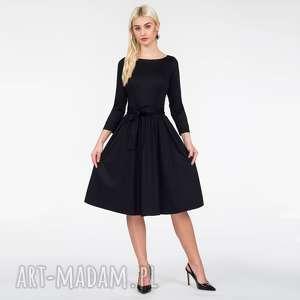 sukienki sukienka marie 3/4 midi czarna, midi, czarna sukienka