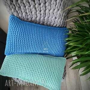 poduszka dekoracyjna robiona na drutach 30x60cm, dekoracyjna