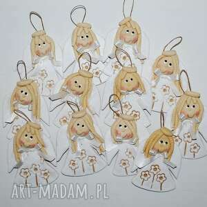 dla dziecka biała łąka - aniołki prezenty gości, aniołki, masa solna