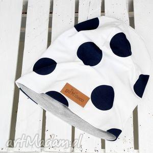 czapka w grochy unisex - czapka, kropki, grochy, ciepła, bawełna, groszki