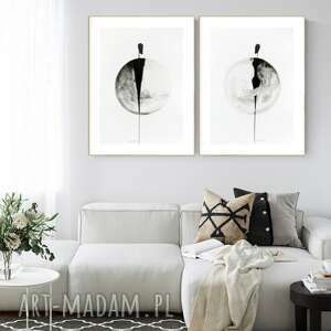 Zestaw 2 grafik 50x70 cm wykonanych ręcznie, abstrakcja, 2685234