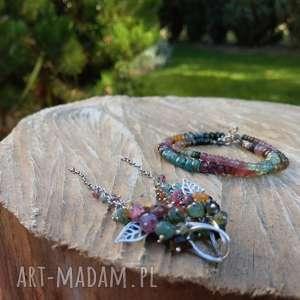 święta, turmalin z liściem, komplet turmalinu, biżuteria liść