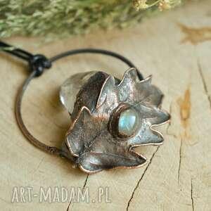naszyjniki liść z labradorytem - naszyjnik kryształem, nasyzjnik liściem