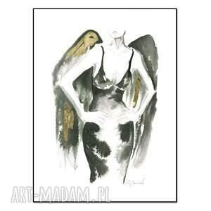 ajan art grafika z cyklu uwikłane w emocje 30 x 40cm, ręcznie malowane, kobieta