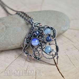naszyjniki w odcieniach błękitu - naszyjnik z kamieniami, miedzi