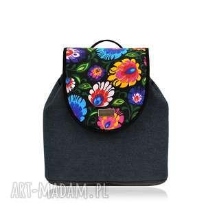 plecaki plecak damski puro 1017, jeansowy, folk, plecak, prezent na święta