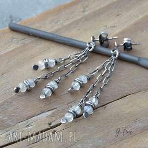 kamień księżycowy wiszące srebrne kolczyki na sztyftach, wiszące, srebro