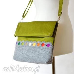 Zielona Torba Składak z Kolorowymi Kropkami, filc, kropki, kolorowa, składana