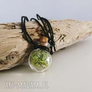 buteleczka wisior z mchem, buteleczka, mech, las, leśny, wisior, naszyjnik biżuteria