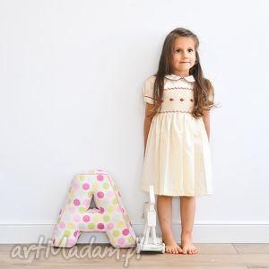 śmietankowa beza, sukieneczka, haftowana, bawełna, kokarda, kolnierzyk, 110cm