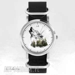 Zamówienie dla pani doroty - zegarek wilk czarny, skórzany, nato